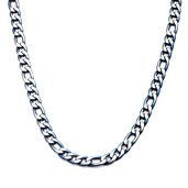 3mm Blue IP Figaro Chain Necklace