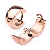 9mm/6mm Inox Jewelry Rose Gold IP Huggies Earrings