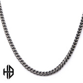 Hollis Bahringer Men's Gun Metal Polished Finish Fox Tail Chain Necklace