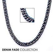 Blue IP Curb Chain Necklace with Lobster Claw Clasp