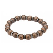 8mm Hematite Hexagon Pattern Stone Bracelet with Antiqued Spacer and Elastic Stretch Wire
