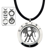 Reversible 4-Way Black IP & Steel Gemini Zodiac Pendant