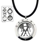 Reversible 4-Way Black IP & Steel Gemini Zodiac Pendant