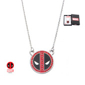 Stainless Steel Deadpool with Gem Pendant Necklace