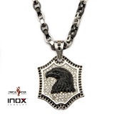 Eagle and CZ Dog Tag Pendant with Two Tone Cable Chain