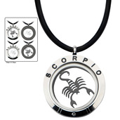 Reversible 4-Way Black IP & Steel Scorpio Zodiac Pendant