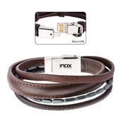 Multi Genuine Brown Leather and Black Hematite Android USB Bracelet