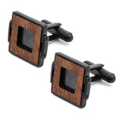 IP Black with Ebony Wood Cuff Links