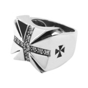 Clear CZ Iron Cross Ring