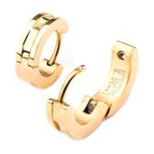 Stainless Steel Gold IP Huggies Earring
