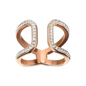 Rose Gold IP Crystal Open Curved Ring