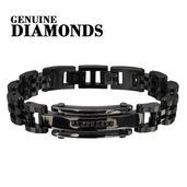 Mens CNC Black Genuine Diamond Link Bracelet