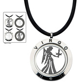 Reversible 4-Way Black IP & Steel Virgo Zodiac Pendant