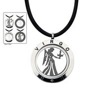 Reversible 4-Way Black IP & Steel Virgo Zodiac Pendant