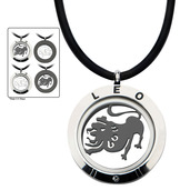 Reversible 4-Way Black IP & Steel Leo Zodiac Pendant
