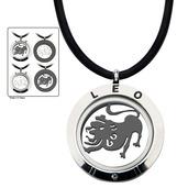 Reversible 4-Way Black IP & Steel Leo Zodiac Pendant