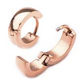 9mm/4mm Inox Jewelry Rose Gold IP Huggies Earrings