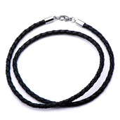 Black Woven Leather Necklace