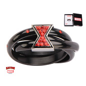 Black IP Triple Ring with Black Widow Logo and Red Gems