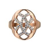 Rose Gold IP Crystal Weave Pattern Ring