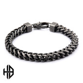 Hollis Bahringer Men's Gun Metal Polished Fox Tail Chain Bracelet