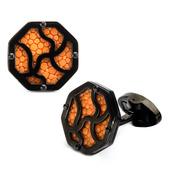 Steel & IP Black w/ Orange Stingray Cufflinks