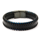 Black Leather with Blue IP Cable Edge Bracelet
