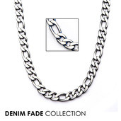 Black IP Figaro Chain Necklace with Lobster Claw Clasp