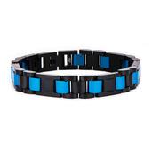 Stainless Steel Black IP and Blue IP Link Bracelet