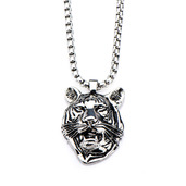 Stainless Steel Tiger Face Pendant with 24 inch Chain