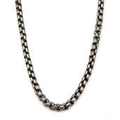 Gun Metal IP Round Box Chain Necklace