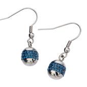 Ball with Montana Crystal Hook Dangle Earrings