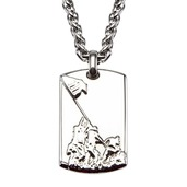 Stainless Steel Raising Flag Dog Tag Pendant with Chain