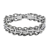 Stainless Steel with Cross Curb Chain Bracelet