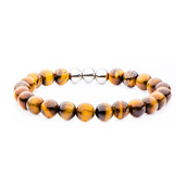 8mm Tiger Eye Bead and Stainless Steel with Elastic Band Bracelet