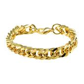 Gold IP Fancy Curb Chain Bracelet