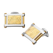 Hollis Bahringer Men's Polished with Intricate Carved Gold IP Cuff Links