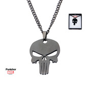 Black PVD Plated Punisher Skull Pendant with Chain
