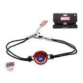 Captain America Shield Logo in Black Leather Cord Bracelet