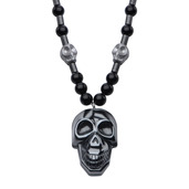 Steel Hematite Skull and 6mm Black Beads Pendant Necklace