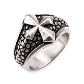Stainless Steel Pebbled Big Cross Ring