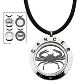 Reversible 4-Way Black IP & Steel Cancer Zodiac Pendant