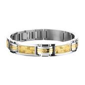 Hollis Bahringer Men's  Diamond Intricate Carved Gold IP Link Bracelet