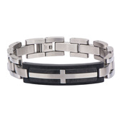 Stainless Steel Cross Inlayed in Solid Carbon Graphite Link Bracelet