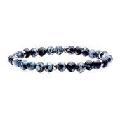 Stainless Steel and 6mm Snowflake Beads in Elastic Band Bracelet