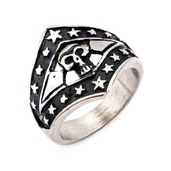 Stainless Steel Skull and Star Ring