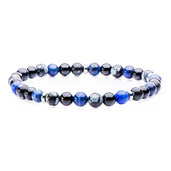 Stainless Steel and Sodalite, Black Agate, Snowflake Beads in Elastic Band Bracelet