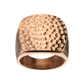 Rose Gold IP Hammer Rounded Square Ring