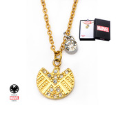 Gold PVD Plated S.H.I.E.L.D. Logo and Clear CZ Pendant with Chain