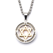 Steel Gold IP Star of David with Cable Inlayed in Circle Pendant